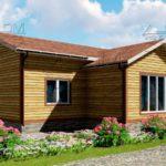 Проект одноэтажного дома из бруса 12 х 12 м «Мирный» - фасад 1