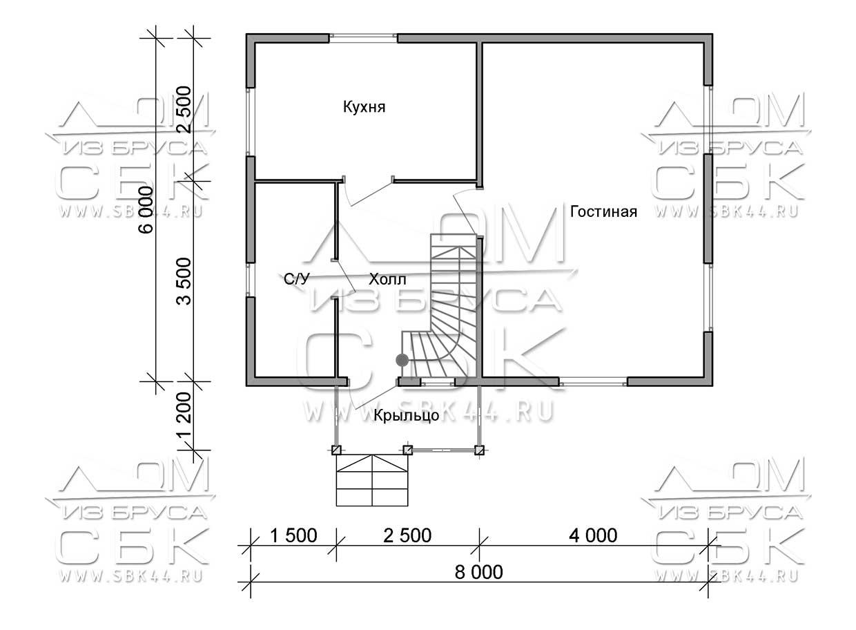 Проект дома из бруса 6 х 8 м «Сангридское» - план 1-го этажа