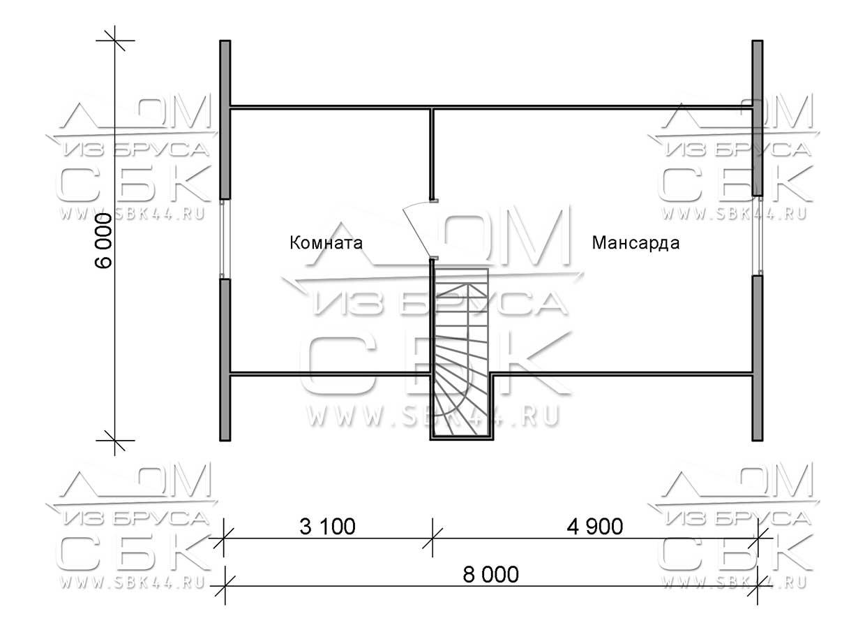 Проект дома из бруса 6 х 8 м «Сангридское» - план 2-го этажа