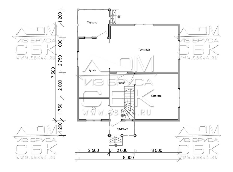 Проект дома из бруса 7,5 х 8 м «Лесничий» - план 1-го этажа