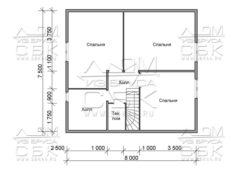 Проект дома из бруса 7,5 х 8 м «Лесничий» - план 2-го этажа