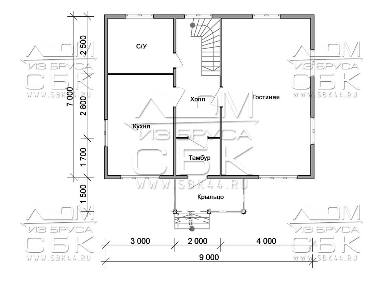 Дом из бруса 7 х 9 м «Град» - план 1-этаж