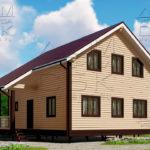 Проект дома из бруса 9 х 8 м в полтора этажа «Владимир» -1