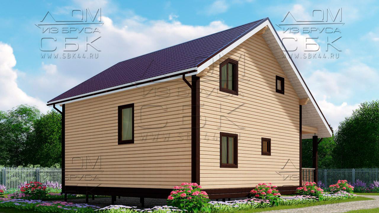 Проект дома из бруса 9 х 8 м в полтора этажа «Владимир» -3
