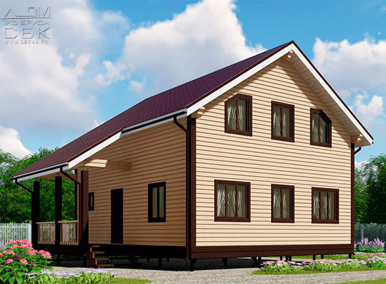 Проект дома из бруса 9 х 8 м в полтора этажа «Владимир»
