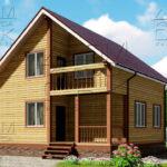 Проект полутораэтажного дома из бруса 8,5 х 8,5 «Эко-Градный» - фасад 1