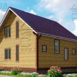 Проект полутораэтажного дома из бруса 8,5 х 8,5 «Эко-Градный» - фасад 3