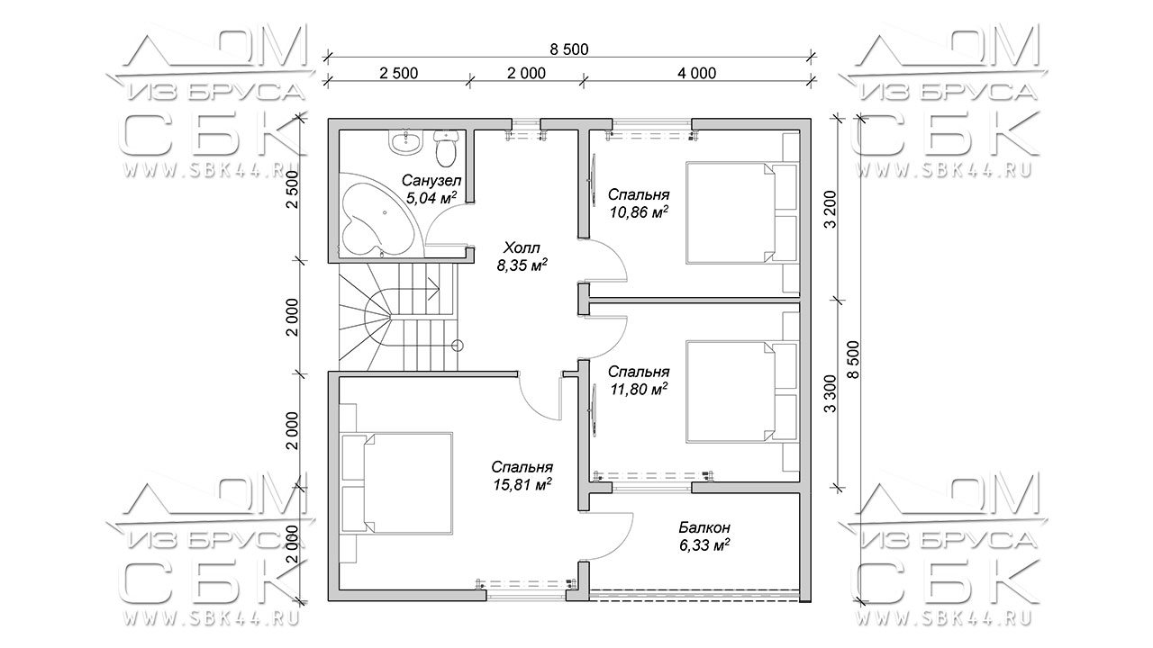 Проект полутораэтажного дома из бруса 8,5 х 8,5 «Эко-Градный» - план 2-го этажа