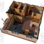 Проект полутораэтажного дома из бруса 8,5 х 8,5 «Эко-Градный» - планировка визуализация 1эт