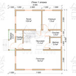 План первого этажа дома 8 х 9 Глазово