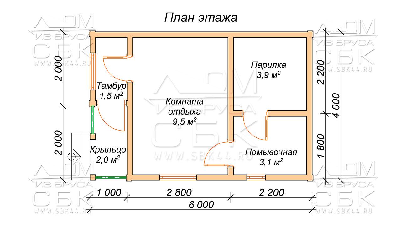 План проекта бани из бруса 4 x 6 Софрино