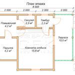 План проекта бани из бруса 6 x 8 Конаково