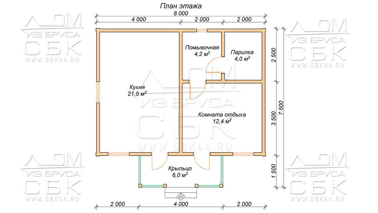 План проекта бани из бруса 7,5 х 8 Южный