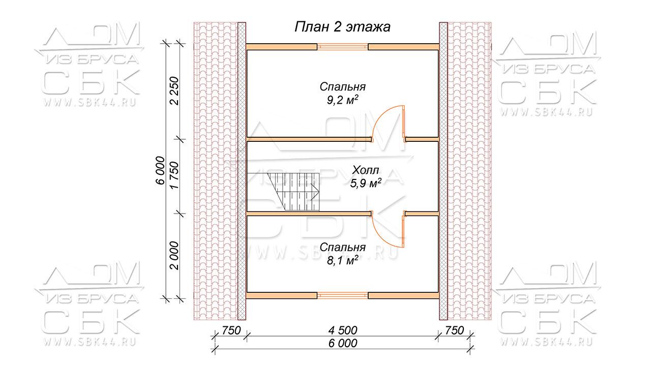 План проекта первого этажа дома 6x8 Абрамцево
