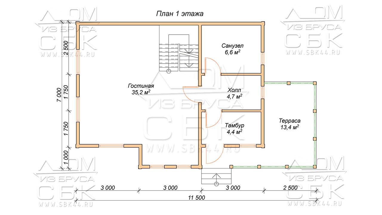 План-проекта-первого-этажа-дома-7-х-11,5-Борцово