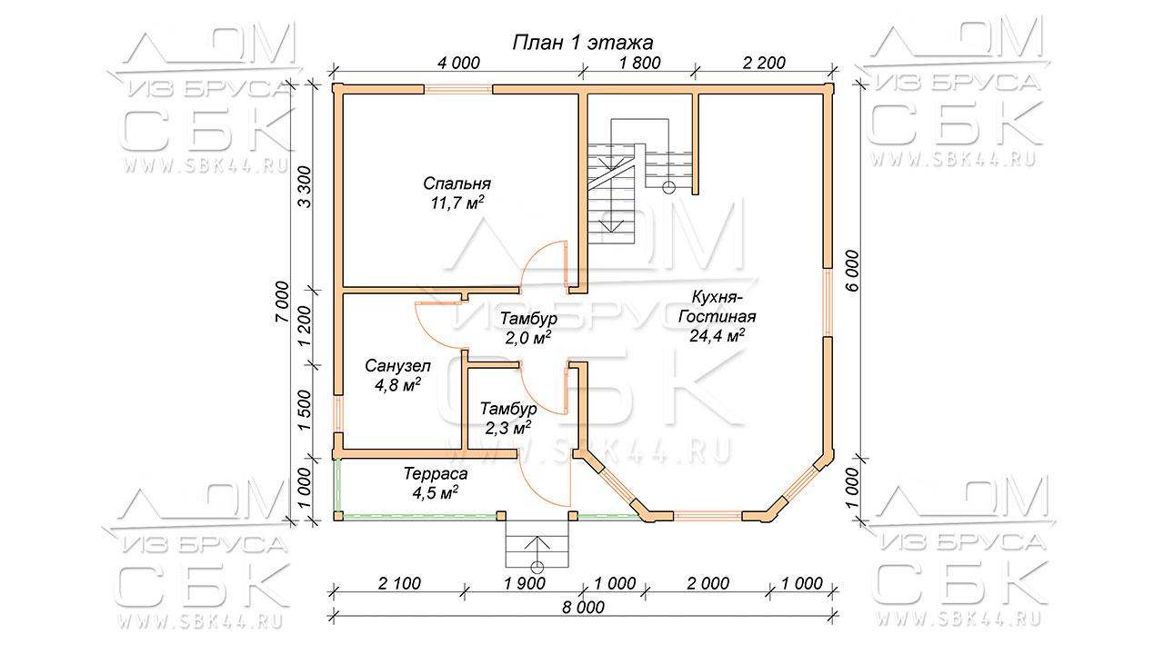 План проекта дома из бруса 7 х 8 «Борисово»