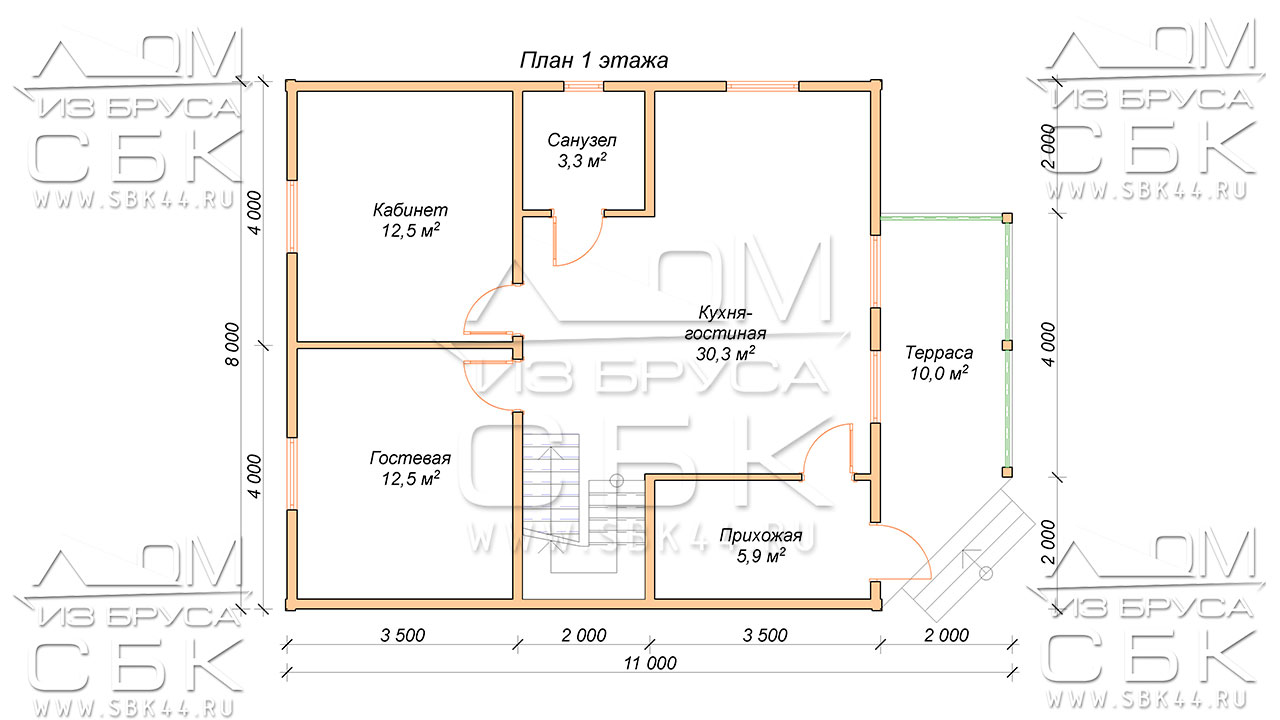 План проекта первого этажа дома 8 х 11 Горошково
