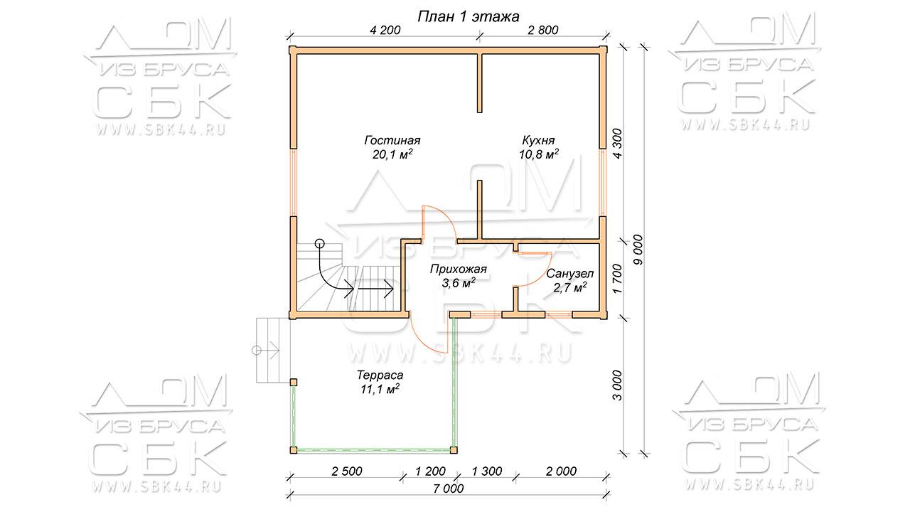 План проекта первого этажа дома из профилированного бруса 7 х 9 Ивашево