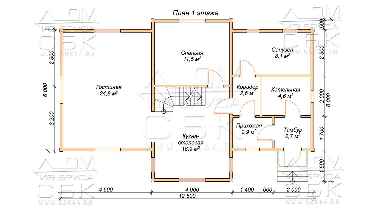 План проекта первого этажа дома из профилированного бруса 8 х 12,5 Игнатово