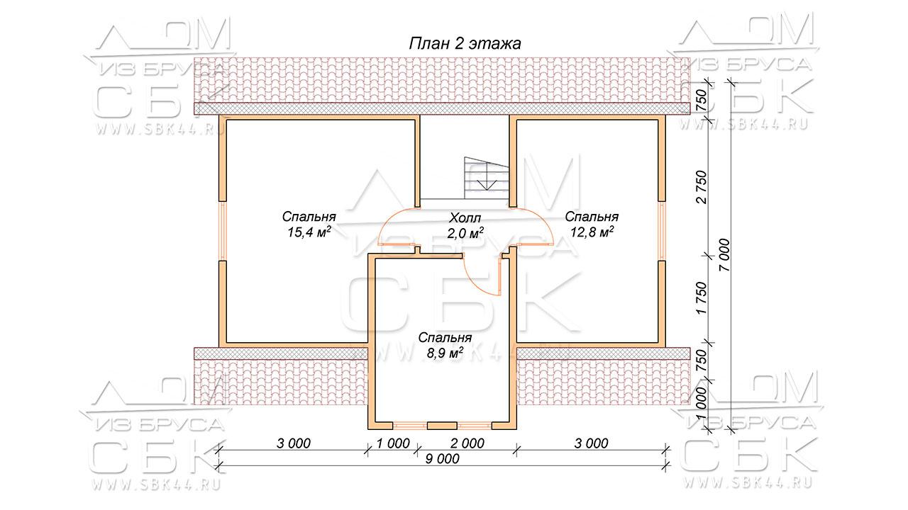 План-проекта-второго-этажа-дома-7-х-11,5-Борцово