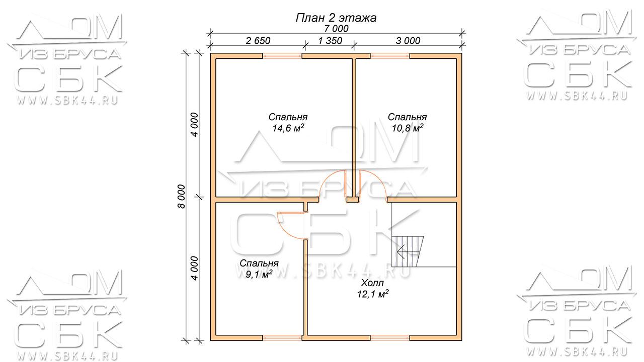 План проекта второго этажа дома 9 х10 Ермолино
