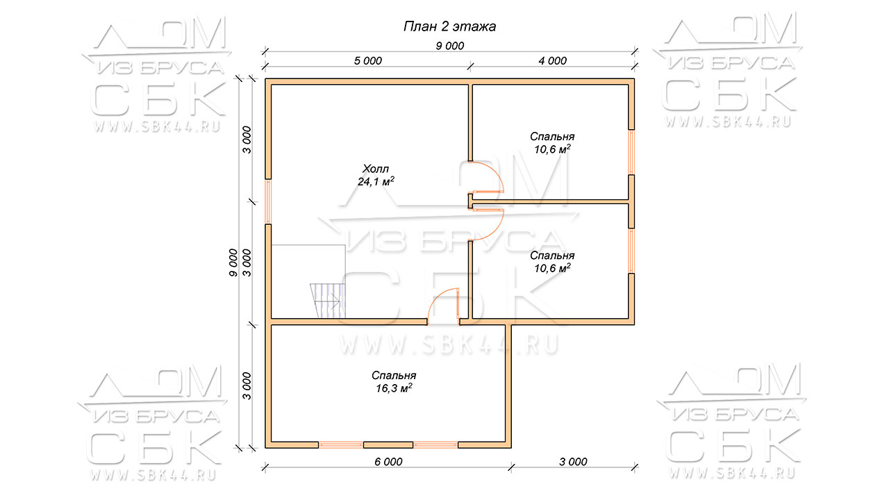 План проекта второго этажа дома 9 х 9 Дубровки