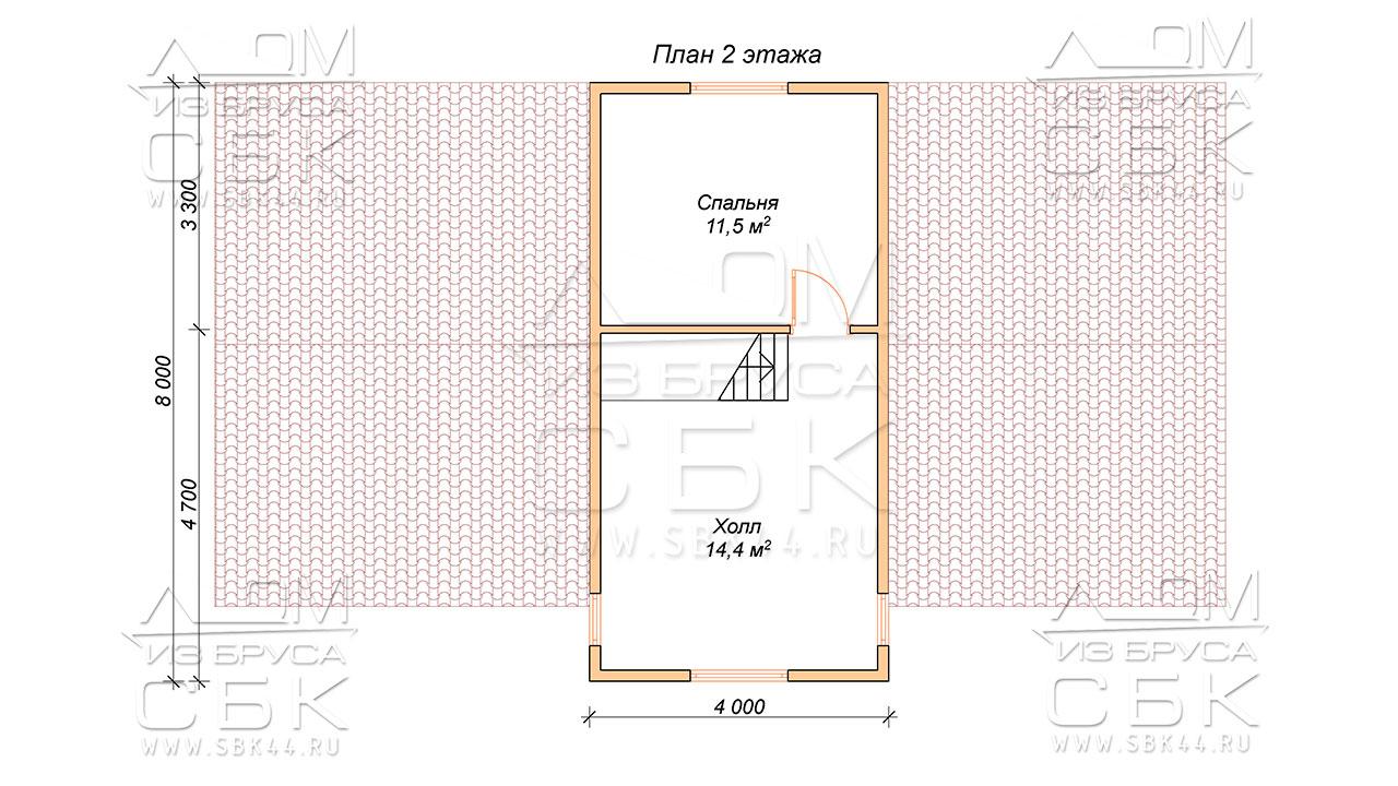 План проекта второго этажа дома из профилированного бруса 8 х 12,5 Игнатово