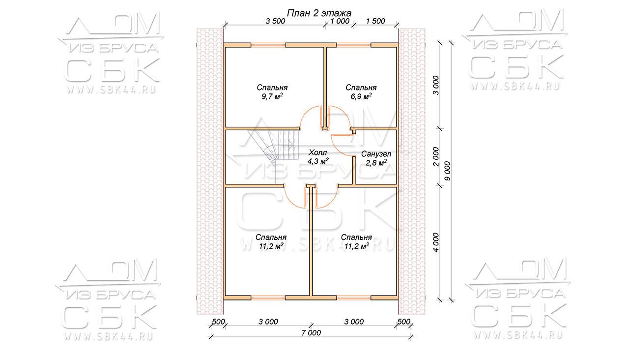 План второго этажа дома 8 х 9 Глазово