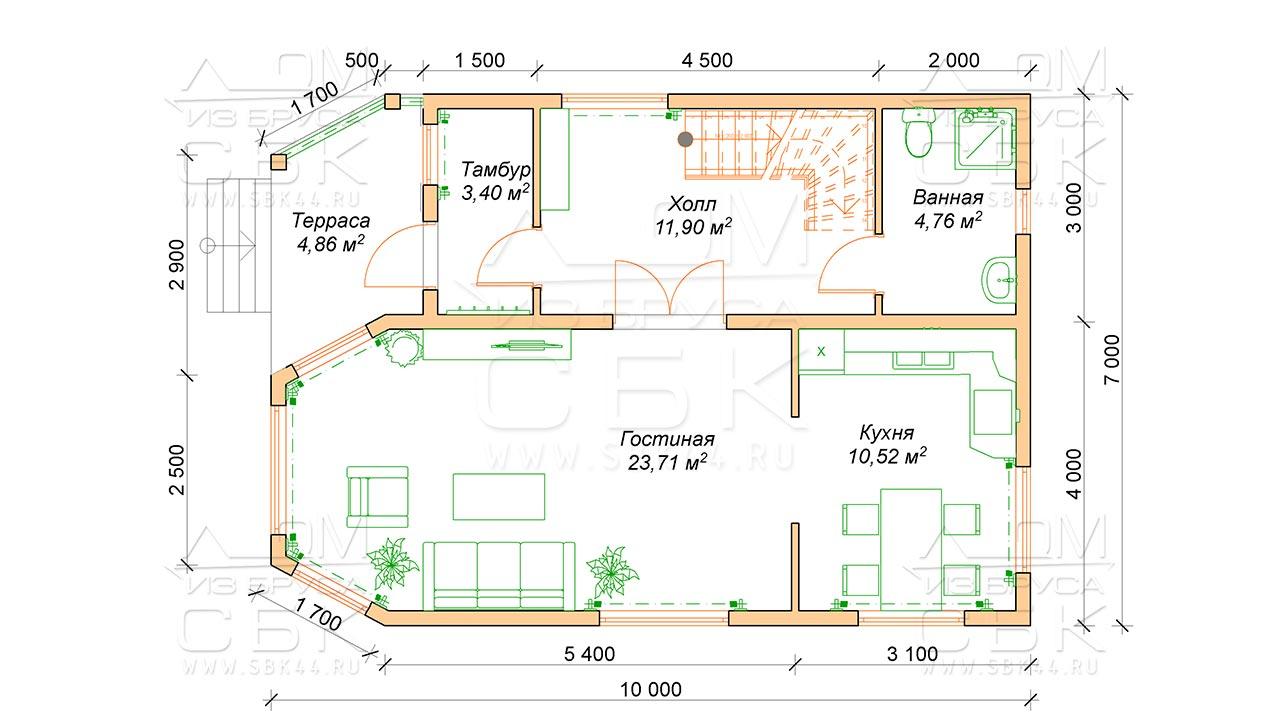Проект дома из бруса 10 х 7 с эркером «Чернопенье» - План 1 эт
