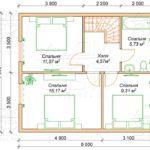 Проект дома из бруса 10 х 7 с эркером «Чернопенье» - План 2 эт