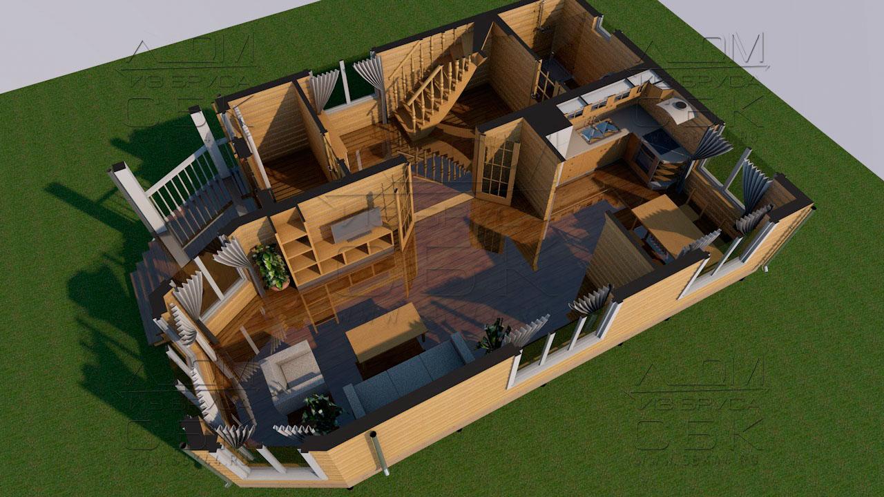 Проект дома из бруса 10 х 7 с эркером «Чернопенье» - Планировка 1 эт