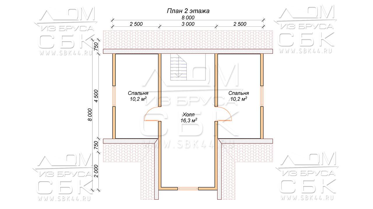 Проект второго этажа дома 8 х 8 Внуково
