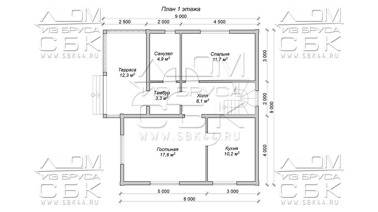 """Проект дома из бруса 9 х 9 """"Семенково"""" - план 1го этажа"""