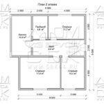 """Проект дома из бруса 9 х 9 """"Семенково"""" - план 2-го этажа"""