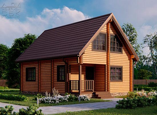 Проект дом из бруса в чашу 6х9 «Марицино» - полтора этажа (обложка)