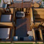 Проект бани из бруса в чашу 9 х 9 - с террасой - интерьер с мебелью - фото