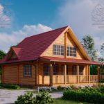 Проект дом из бруса в чашу 8 х 8 м «Залесский» - с мансардой и террасой (1)
