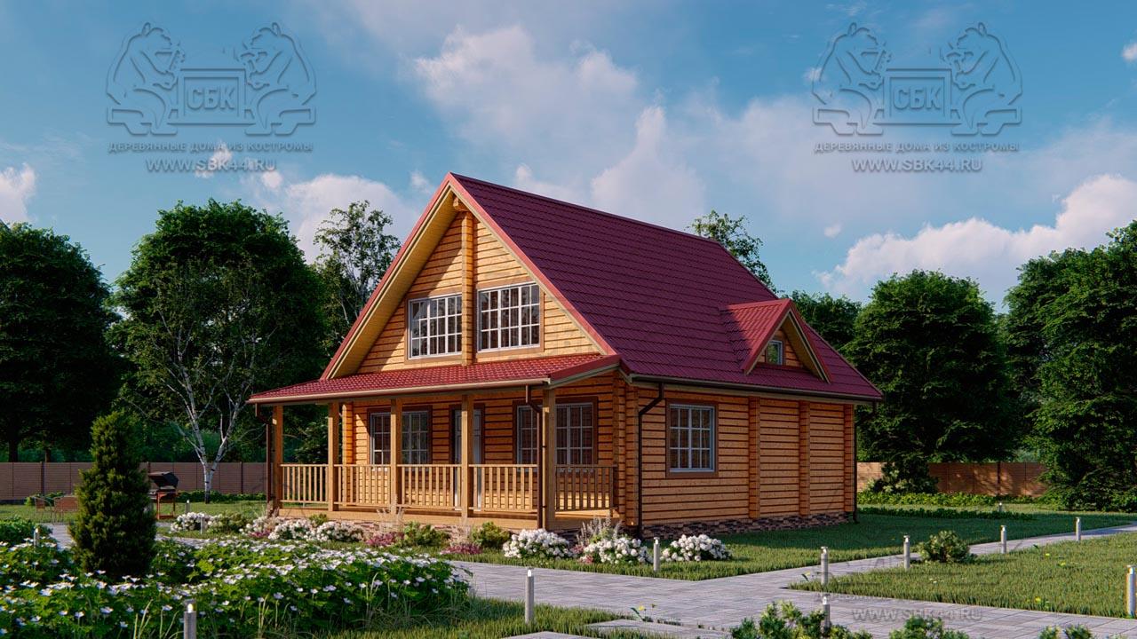 Проект дом из бруса в чашу 8 х 8 м «Залесский» - с мансардой и террасой (2)