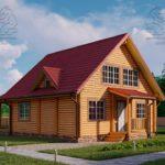 Проект дом из бруса в чашу 8 х 8 м «Залесский» - с мансардой и террасой (3)