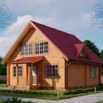 Проект дом из бруса в чашу 8 х 8 м «Залесский» - с мансардой и террасой (4)
