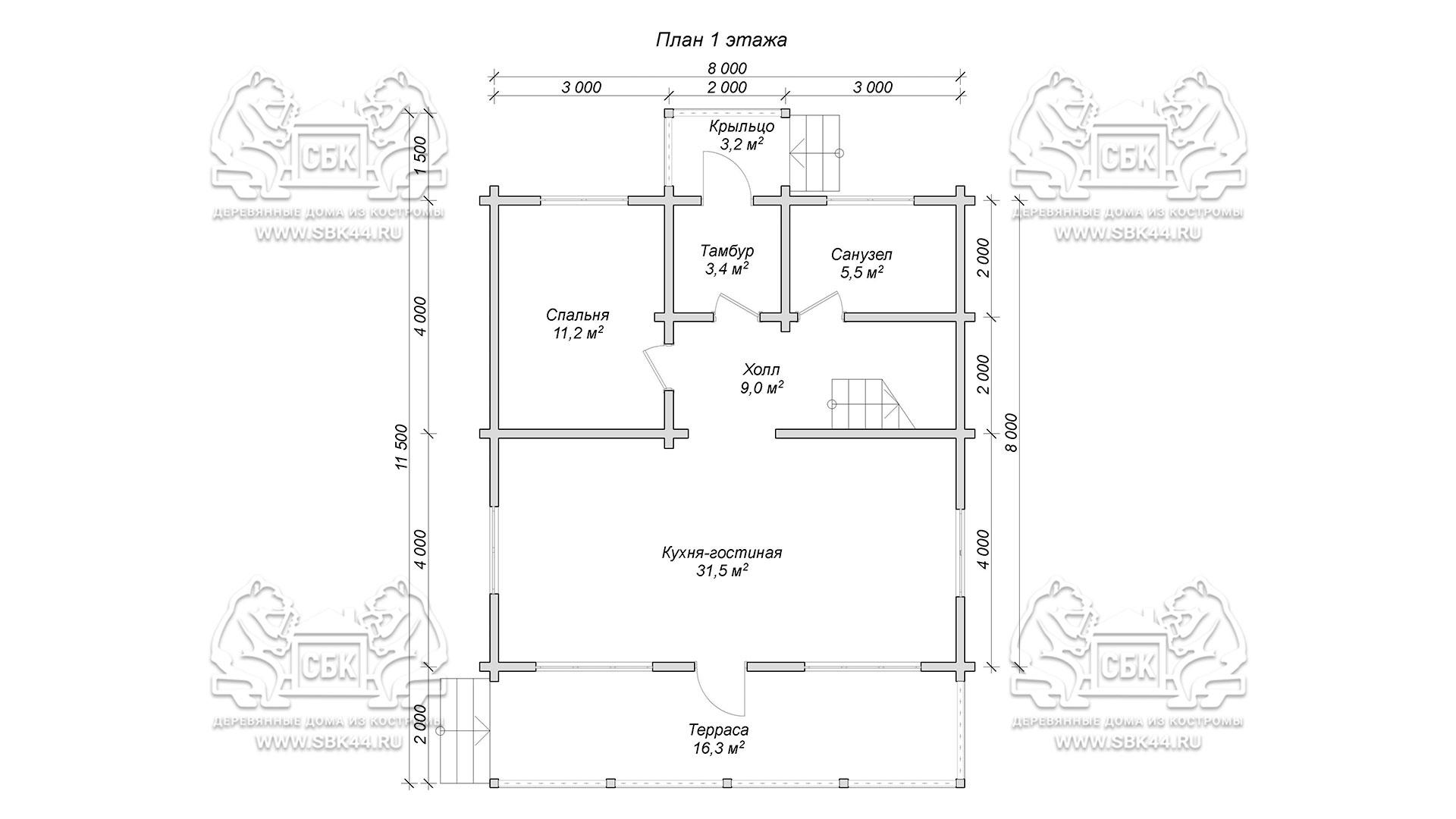 Проект дом из бруса в чашу 8 х 8 м «Залесский» - с мансардой и террасой - план 1-го этажа