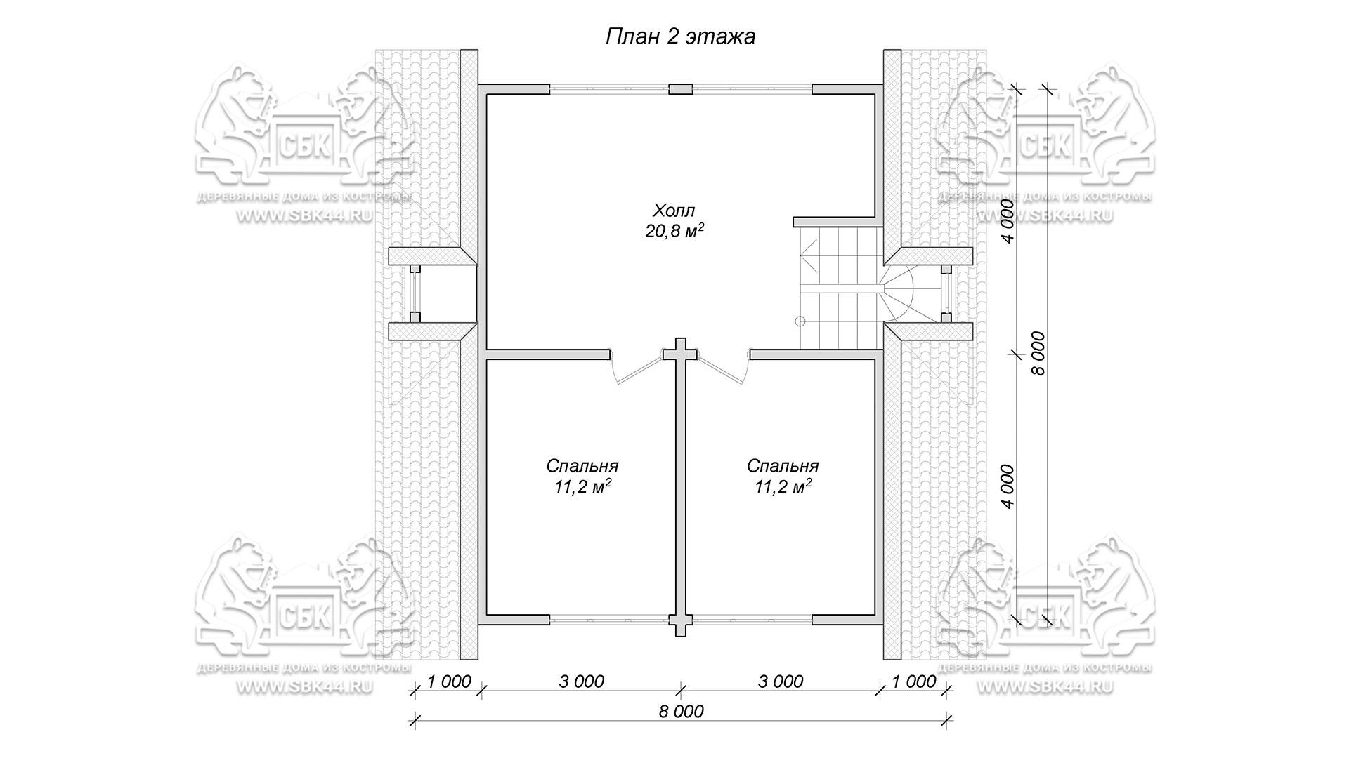 Проект дом из бруса в чашу 8 х 8 м «Залесский» - с мансардой и террасой - план 2-го этажа