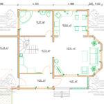 Проект дома из бруса в 13,5 х 9 м «Первый» - с гаражом - План - 1-го этажа