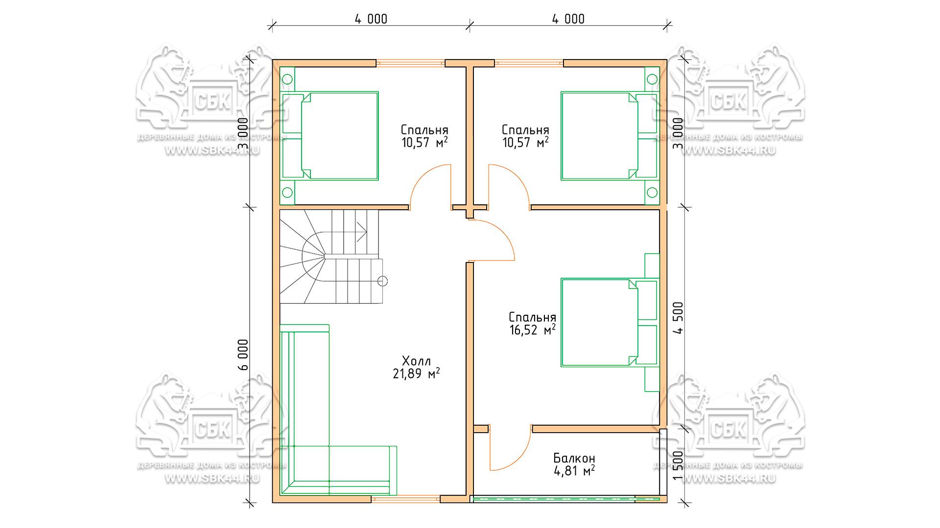 Проект дома из бруса в 13,5 х 9 м «Первый» - с гаражом - План - 2-го этажа