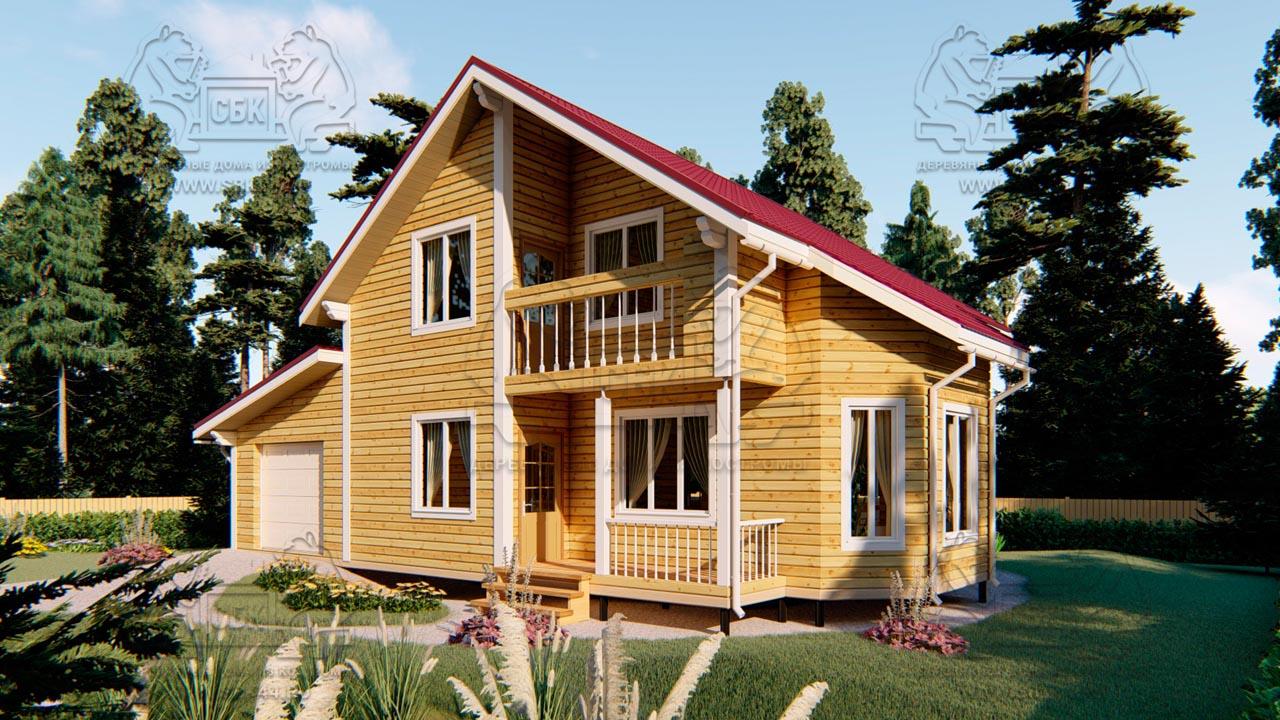 Проект дома из бруса в 13,5 х 9 м «Первый» - с гаражом (фото) - (1)