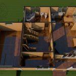 Проект дома из бруса в 13,5 х 9 м «Первый» - с гаражом - интерьер вид 2 эт
