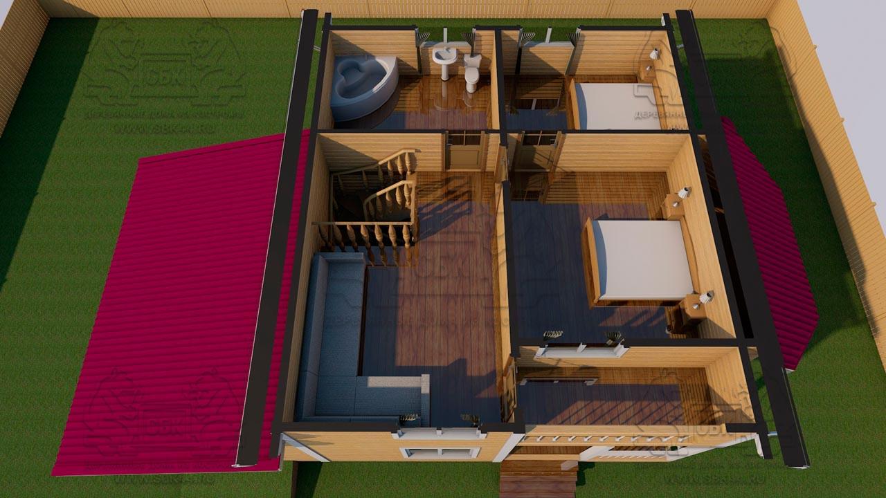 Проект дома из бруса в 13,5 х 9 м «Первый» - с гаражом - интерьер вид 1 эт