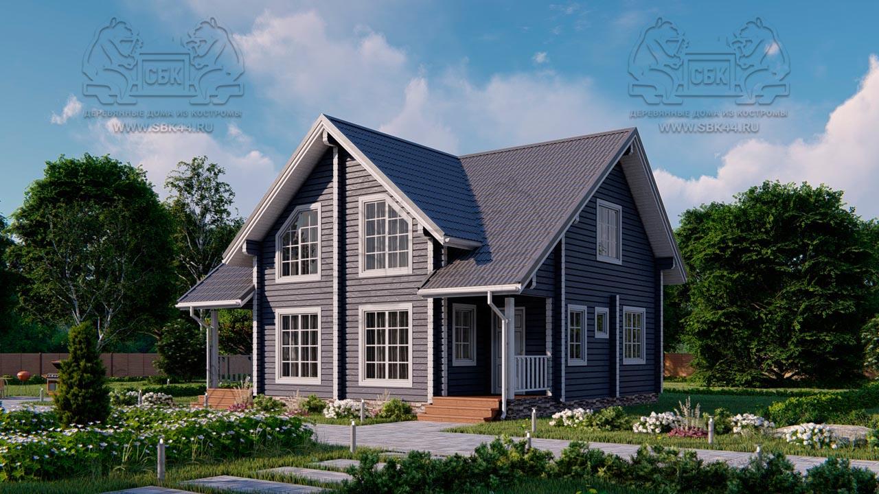 Проект дома из бруса в чашу 10 х 8 м «Романов» - на две семьи, для коттеджных поселков, для баз отдыха (1)