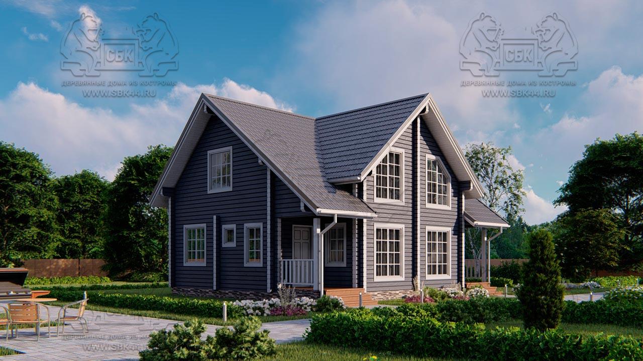 Проект дома из бруса в чашу 10 х 8 м «Романов» - на две семьи, для коттеджных поселков, для баз отдыха (4)