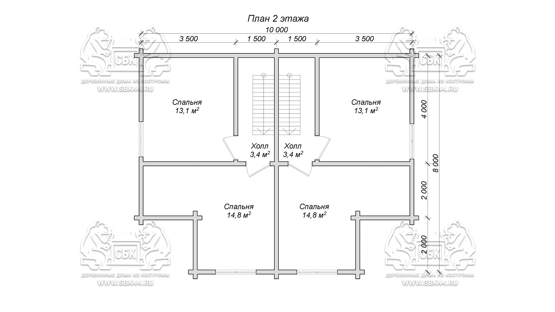 Проект дома из бруса в чашу 10 х 8 м «Романов» - на две семьи, для коттеджных поселков, для баз отдыха - план 2-го этажа